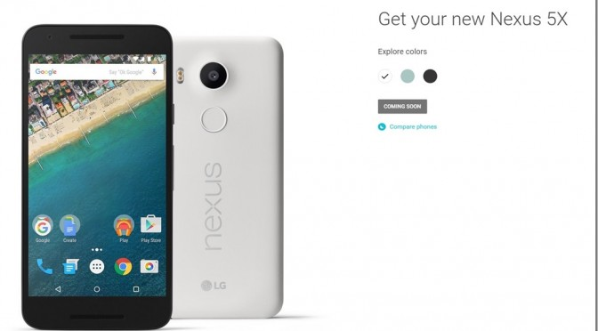 nexus 5x  グーグル純正のスマートフォン 注文可能となりました