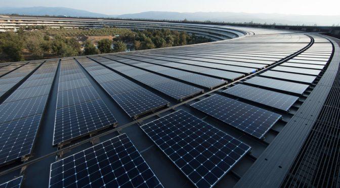 Apple 自社電力の100%を再生可能エネルギーで賄っていると発表